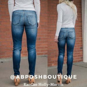 KAN CAN Jeans Holly-Marion Mid-Rise Medium Dark Wash Super Skinny Jeans KC7095GT
